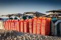 Off season the on the beach of the mediterranean sea Stock Photo