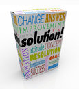 Off the shelf solution product box new idea answer word on a to illustrate an or innovation to solve your problem or challenge Royalty Free Stock Image