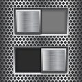 On and Off square slider buttons. Metal switch interface buttons on perforated background