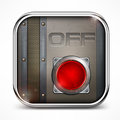 Off switch button metal square icon with illustration Royalty Free Stock Photos