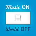 On off switch. Conceptual image with swtitch on music and world Royalty Free Stock Photo