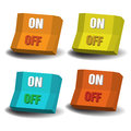 On off switches set of four with the words and written each of them Royalty Free Stock Photography