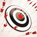 Off target shows aiming mistake showing lacking confidence Stock Images