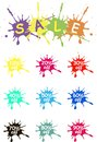 Off vector tags, sale. The spot of spilled paint on white. Colorful sale label icons, product packing Royalty Free Stock Photo
