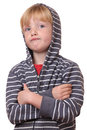 Offended portrait of a young boy on white background Royalty Free Stock Photography