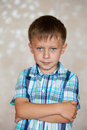 Offense of little boy is full emotions Royalty Free Stock Photography