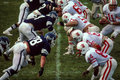 Offensive and defensive lines college division iii football featuring ithaca state line trying to push back the line image taken Royalty Free Stock Photo