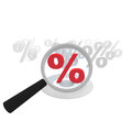 Offer check percent symbol with an magnifying glass Royalty Free Stock Image