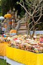 Offering in Bali Hindu temple Royalty Free Stock Photo