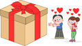 Offering woman in love a big present cartoon man Stock Image