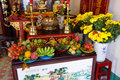 Offerings of fruit to fertility deity hoi an vietnam feb at the altar a fukian assembly hall hoi an vietnam Stock Image