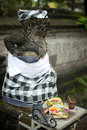 Offerings to a traditional balinese statue, Bali Stock Photos