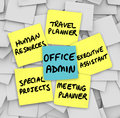 Office administrator job duties meeting travel planner executive the many of the modern words written on sticky notes including Royalty Free Stock Photography