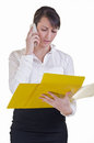 Office assistant conversating document details Stock Image