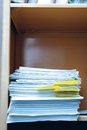 Office bookcase with data folders Royalty Free Stock Photo