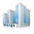 Office building with an entrance and reflection on white background Royalty Free Stock Photo