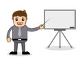 Office and business cartoon character vector illustration presenting a slideshow drawing art of businessman presentation in Royalty Free Stock Image