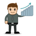 Office and business cartoon character vector illustration stats bar drawing art of businessman presenting graph Royalty Free Stock Images