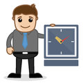 Office and business cartoon character vector illustration time concept drawing art of young businessman presenting a clock Stock Images