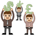 Office and business cartoon character vector illustration various currency concepts drawing art of businessman characters holding Stock Photography