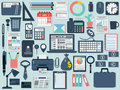 Office and business flat icons a set of vector Royalty Free Stock Images
