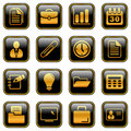 Office and business icons - golden series Stock Images