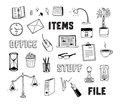 Office and business objects doodles set vector collection of hand drawn of items isolated on white background Royalty Free Stock Photo