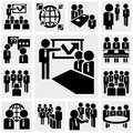 Office and business vector icons set on gray grey background eps file available Royalty Free Stock Images