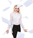 Office business woman satisfied tossed into the air overhead pap young pretty worker gladly thrown sheets Stock Photos