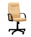 The office chair from beige leather isolated Stock Photos