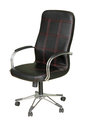 Office chair black leather on whit Royalty Free Stock Photo
