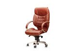 Office chair from brown leather the isolated Stock Image