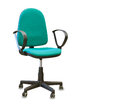 Office chair from green cloth isolated over white Royalty Free Stock Photo