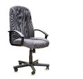 Office chair from grey cloth isolated over white Royalty Free Stock Photo