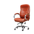 The office chair from orange leather isolated Royalty Free Stock Image