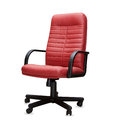 Office chair from red leather. Isolated Royalty Free Stock Photo