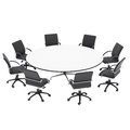 Office chairs and round table isolated render on a white background Royalty Free Stock Photo