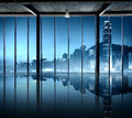 Office Cityscape Buildings Contemporary Interior Room Modern Co Royalty Free Stock Photo