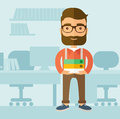 Office clerk the with a beard standing in front of his desk and holding documents job concept vector flat design Stock Image
