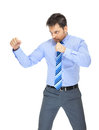 Office clerk in boxing stance on white background Stock Image