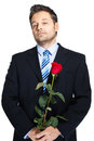 Office clerk with red rose on white background Stock Images