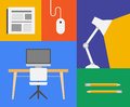 Office colorful object flat design trendy vector illustration icons of and business objects isolated on colored background Royalty Free Stock Image
