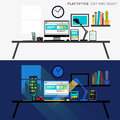Office Day and Night Royalty Free Stock Photo