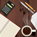 Office desk with coffee cup disclosed notepad and calculator top view Stock Images