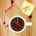 Office desk with a cup of coffee pencil time Royalty Free Stock Photos