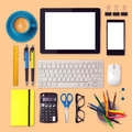 Office desk mock up template with tablet, smartphone and office items Royalty Free Stock Photo