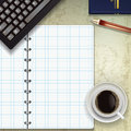 Office desk with notepad Stock Photo