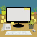 Office desk with telephone, computer, keyboard and plants Royalty Free Stock Photo