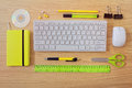 Office desk template with keyboard and office items. View from above Royalty Free Stock Photo