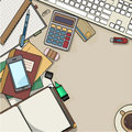 Office desk top view Royalty Free Stock Photo